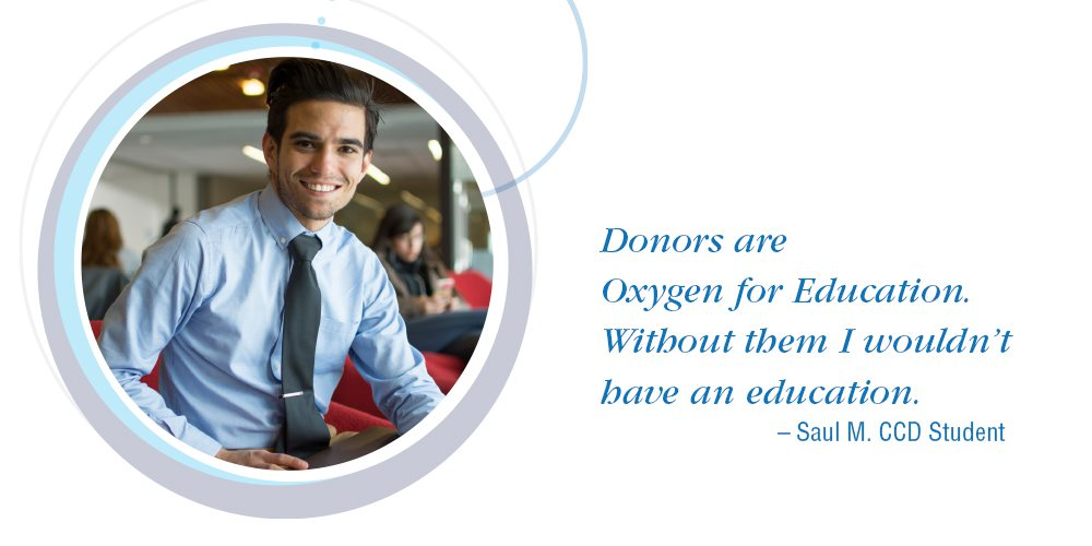 "man wearing a tie with quote: ""donors are oxygen for education. Without them I wouldn't have an education."""